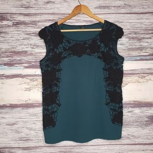 Ann taylor green and black tank